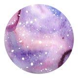 Fond cosmique tiré par la main de cercle d'aquarelle illustration libre de droits