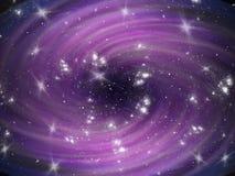 Fond cosmique violet de mouvement giratoire avec des étoiles Photographie stock libre de droits