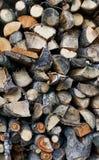 Fond coupé de bois de chauffage Photographie stock