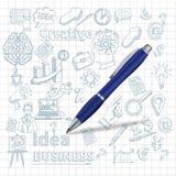 Fond créatif avec le stylo Photographie stock libre de droits