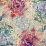 Fond créatif avec les éléments floraux et les différentes textures illustration de vecteur
