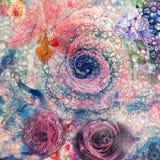 Fond créatif avec les éléments floraux et les différentes textures illustration stock
