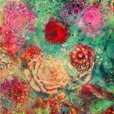 Fond créatif avec les éléments floraux et les différentes textures Photos stock