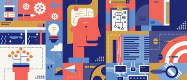 Fond créatif d'abrégé sur idée d'échange d'idées illustration libre de droits