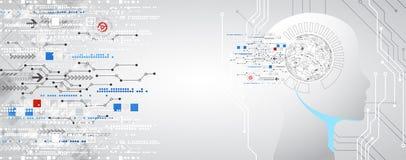 Fond créatif de concept de cerveau Conce d'intelligence artificielle illustration de vecteur