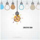 Fond créatif de concept d'idée d'ampoule Photographie stock libre de droits