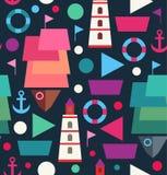 Fond créatif de mer décorative sans couture marine de modèle avec des bateaux, bateaux, phares, balises illustration libre de droits