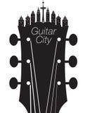 Fond créatif de musique de ville de guitare Photo stock