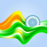 Fond cr?atif d'onde de couleur indienne d'indicateur avec la roue d'Asoka illustration stock