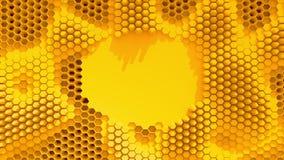 Fond cristallisé par orange abstraite Mouvement de nids d'abeilles comme un océan Avec l'endroit pour le texte ou le logo banque de vidéos