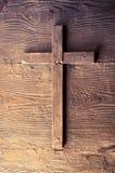 Fond croisé en bois Symbole chrétien image libre de droits