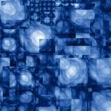 Fond cubiste abstrait de bleu de fractale Images libres de droits