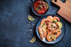 Fond cuit de crevettes images stock