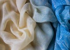Fond cyan de texture de tissu Photo stock