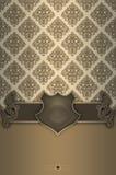 Fond décoratif avec la frontière de vintage, le bouclier élégant et le tapotement illustration stock