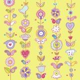 Fond décoratif avec les fleurs et Paisley Image libre de droits