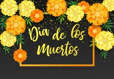 Fond décoratif avec les soucis oranges, symbole du jour mexicain de vacances des morts Illustration de vecteur illustration de vecteur