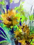 Fond décoratif coloré lumineux abstrait Modèle floral fait main Le beau bouquet romantique tendre des fleurs, a fait dedans illustration de vecteur