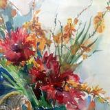 Fond décoratif coloré lumineux abstrait Modèle floral fait main Le beau bouquet romantique tendre des fleurs, a fait dedans illustration stock