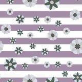 Fond décoratif de rayure de fleurs illustration stock