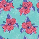 Fond décoratif sans couture exotique de ketmie tropicale de fleurs Photographie stock libre de droits