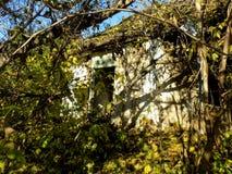 Fond détruit oublié rural abstrait de papier peint de maison Images stock