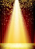 Fond d'éclairage d'étape avec des effets de la lumière de tache illustration de vecteur