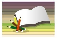 Fond d'école avec du bois, les crayons et l'endroit pour le texte Photographie stock libre de droits