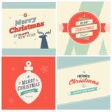 Fond d'éléments de Noël de vintage avec la typographie ENV 10 Photos stock