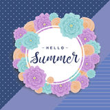 Fond d'été avec des fleurs, marquant avec des lettres le ` d'été de ` bonjour Illustration de vecteur photo libre de droits