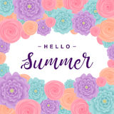 Fond d'été avec des fleurs, marquant avec des lettres le ` d'été de ` bonjour Illustration de vecteur Photos libres de droits