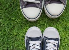 Fond d'été avec l'herbe, espadrilles Au sujet de l'amusement et de la jeunesse Photos libres de droits