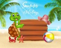 Fond d'été avec la tortue et le signe vide Photographie stock