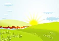 Fond d'été avec le soleil Photographie stock libre de droits
