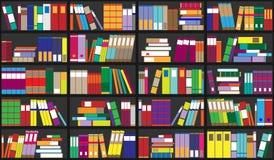 Fond d'étagère Étagères complètement des livres colorés Bibliothèque à la maison avec des livres Illustration haute étroite de ve Images stock