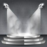 Fond d'étape avec deux projecteurs et fumées illustration libre de droits
