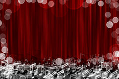 Fond d'étape rouge de rideau avec le signe de note de lueur Photos libres de droits