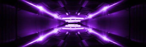 Fond d'étape vide dans la couleur pourpre, projecteurs, rayons au néon photographie stock