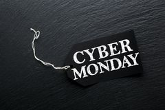 Fond d'étiquette de vente de lundi de Cyber Photo stock