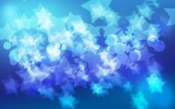 Fond d'étoile bleue de Bokeh Photos stock