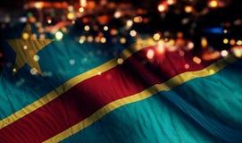 Fond d'abrégé sur Bokeh de nuit de lumière de drapeau national de la République démocratique du Congo photos stock