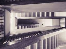 Fond d'abrégé sur l'espace de bâtiment d'étape d'escaliers de détail d'architecture photographie stock