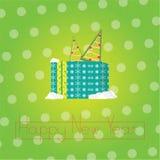 Fond d'abrégé sur le ` s de bonne année avec une texture grenue, avec le papier cadeau, les flocons de neige et l'arbre de Noël Photo stock