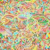 Fond d'abrégé sur modèle de vecteur avec l'ornement coloré Illustration d'aspiration de main, zentangle de livre de coloriage Mer illustration libre de droits
