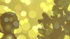 Fond d'abrégé sur silhouette de Noël Lumières de clignotement d'or Réveillon de Noël de carte de voeux L'éclair allume la couleur banque de vidéos