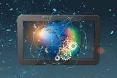 fond d'abrégé sur technologie du rendu 3D, concept de télécommunication mondiale Photographie stock libre de droits