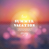 Fond d'abrégé sur vacances d'été. Coucher du soleil sur l'illustration de plage de mer Photos libres de droits