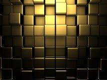 Fond d'or abstrait de mur de cubes illustration de vecteur