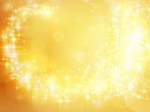 Fond d'or abstrait de vacances, étoile de Noël Photographie stock