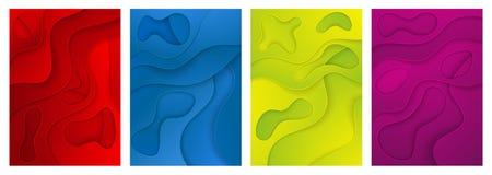 fond 3d abstrait Un ensemble de quatre options Couches coup?es du papier illustration de vecteur